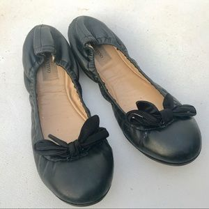 VALENTINO black ballet flats 39 9 lambskin shoes